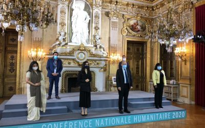 Runa Khan at the closing session of the 5th National Humanitarian Conference of France, in the presence of the French President